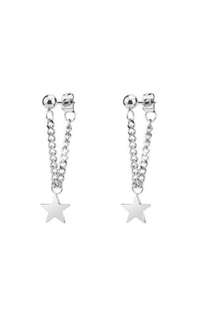 Fusamk Punk Rock Stainless Steel Star Tassel Chain Stud Earrings