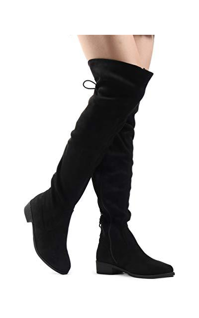 Over The Knee Low Heel Kate Lace Up Tall Boots