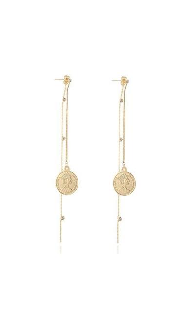 Coin Earrings with Metal Bar Dangle Earrings