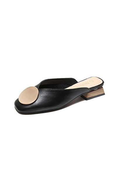 JEFCY  Slip On Square Toe Slides