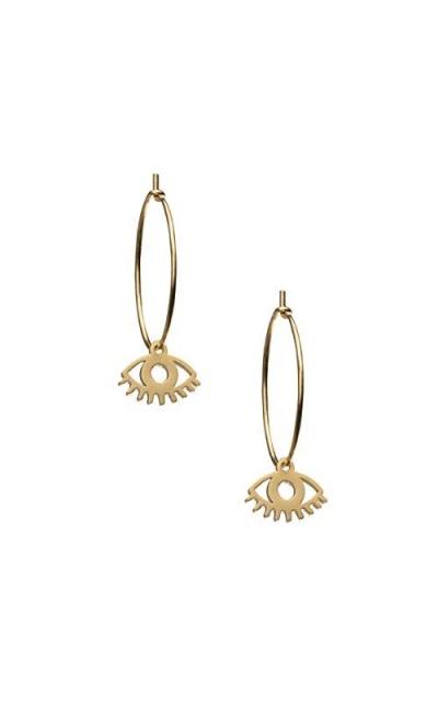 Rivertree Gold Huggie Evil eye earrings