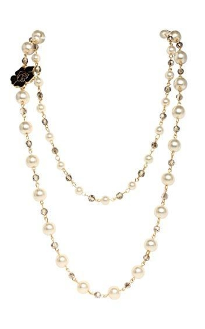 Black Rose Faux Imitation Pearl Necklace