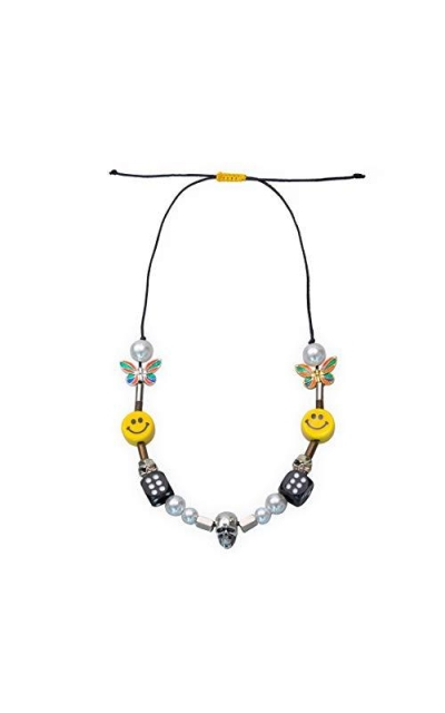 NAGRI  ASAP Rocky Butterfly Skull Dice Pearl Smiley Necklace