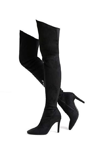 Shoe'N Tale  Stretch Suede Thigh High Over The Knee Boots