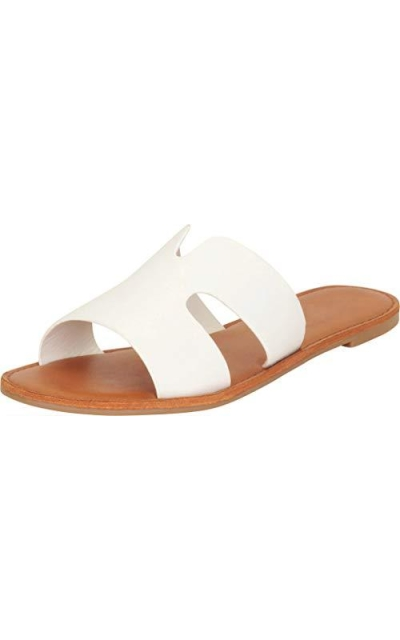 Cambridge Select Open Toe Side Cutout Slip-On Flat Slide Sandals