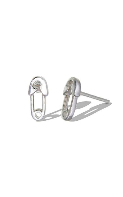 Boma Jewelry Sterling Silver Tiny Safety Pin Stud Earring