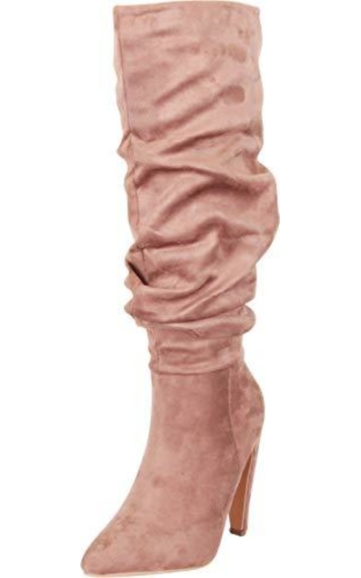 Cambridge Select Pointed Toe Slouch High Heel Knee-High Boot