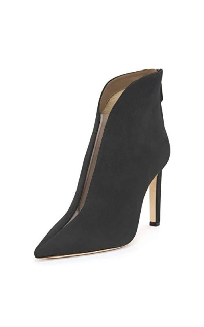 YDN Pointed Toe V Cut Ankle Booties