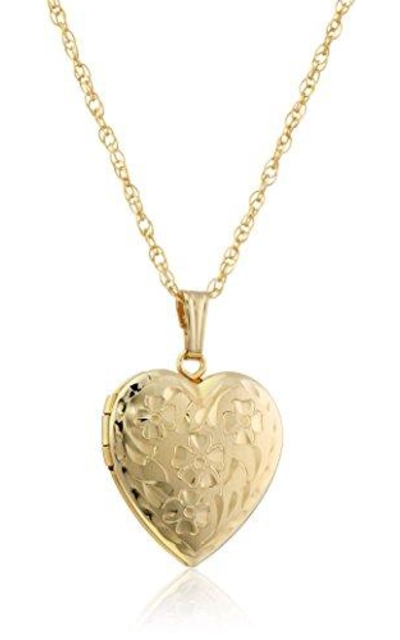 14k Yellow Gold-Filled Engraved Flowers Heart Locket
