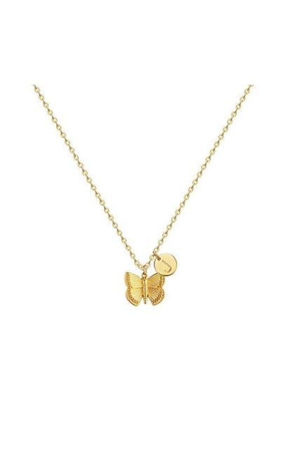 Initial Butterfly Pendant Necklace