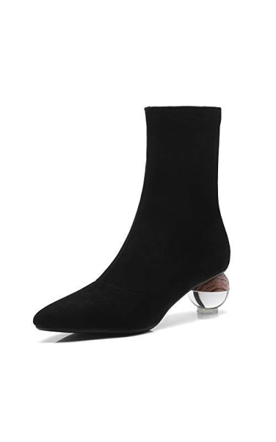 Nine Seven Suede Leather Pointed Toe Mid-Calf Boots