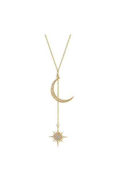 Feximzl Fashion Crystal Moon&Star Necklace