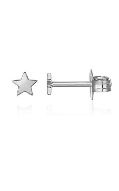 PAVOI 14K Gold Plated Star Stud Earrings - White
