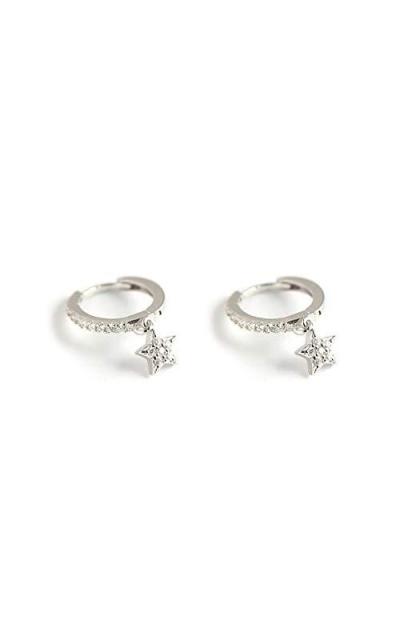Cubic Zriconia Star Dangle Hoop Earrings