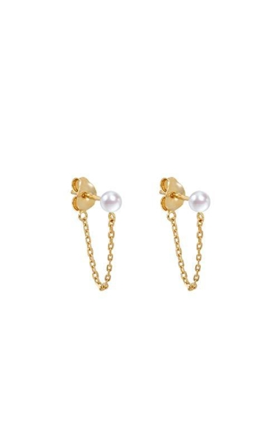 S.Leaf Tiny Pearl Stud Earrings with Chain