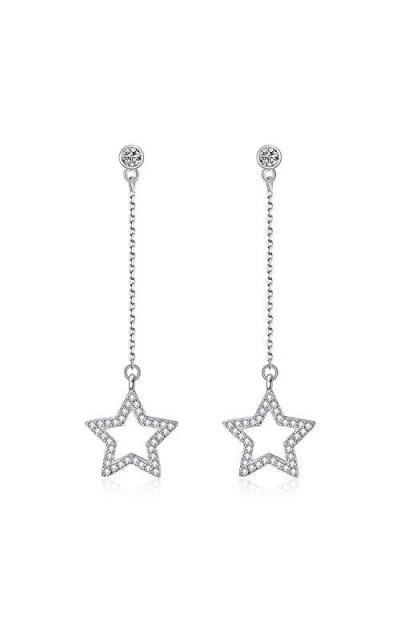 Flechazo 925 Sterling Silver Long Star Earrings