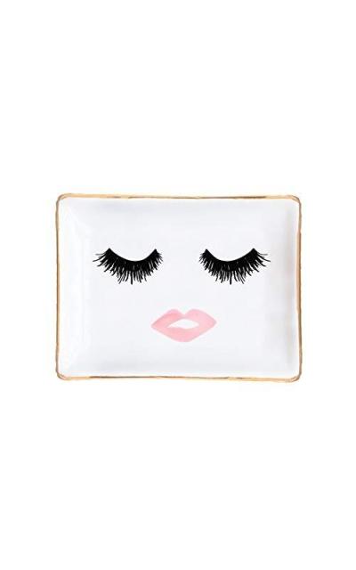 Eyelashes and Lips Face Ceramic Jewelry Dish