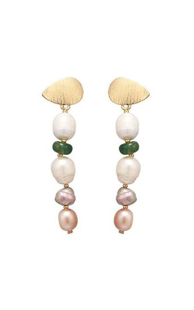 Classic Elegant Natural Pearl Long Dangle Earrings