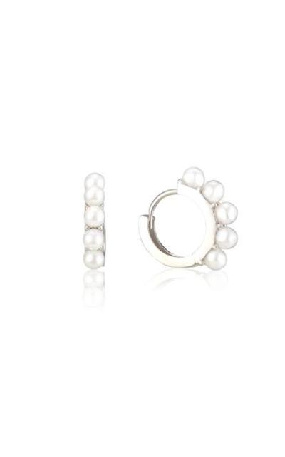 18K Gold Plated Pearl And Simple Hoop Earrings