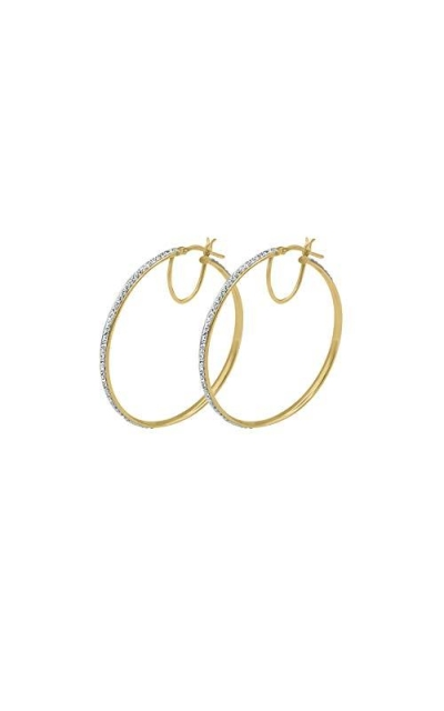 Amata Fine Jewelry 18K Yellow Gold Plated Large Hoop Earrings