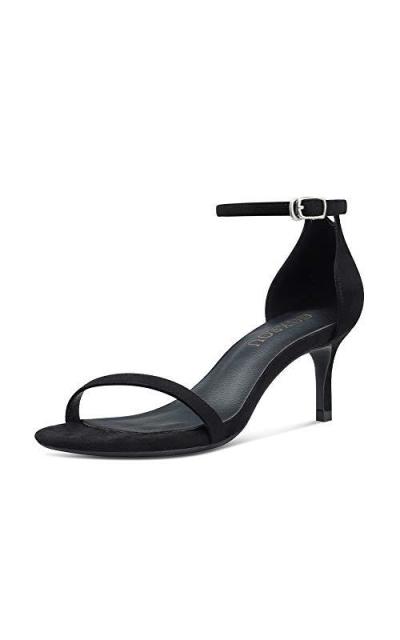 GOXEOU Strap Heeled Sandals