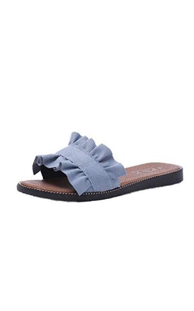 WenHong  Ruffle Flat Sandals