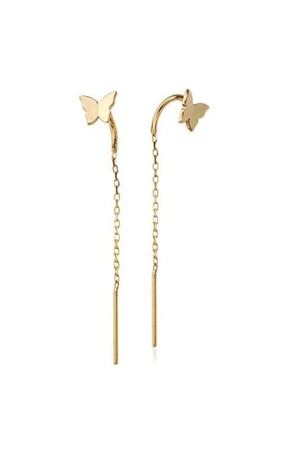 OwMell 925 Sterling Silver Butterfly Tassel Earring