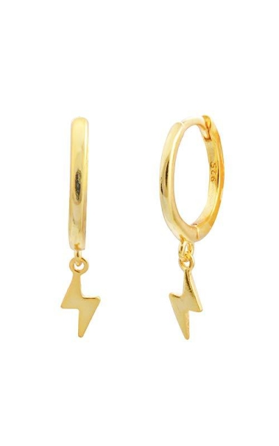 Gold Plated Lightning Bolt Huggie Hoop Earrings
