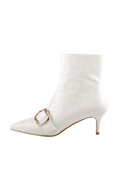 Onlymaker Pointed Toe Stone Pattern Kitten Heel Zipper Ankle Boots