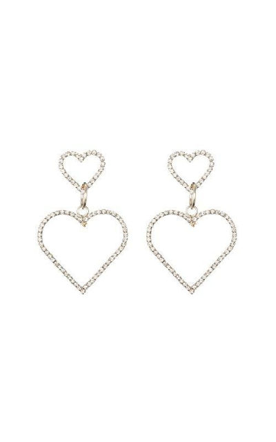 Double Rhinestone Hearts Silver Dangle Earrings