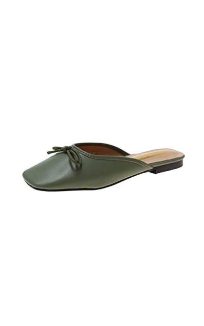 VOWAN Square Toe Backless Slip On Mule Heels Slippers