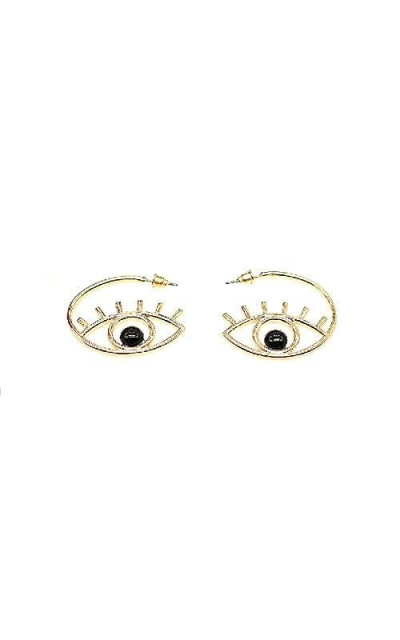 Gold Tone Evil Eyes Hoop Earrings