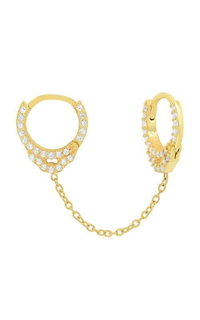 G.ROCK L.A14K Gold Plated Cubic Zirconia Handcuff Stud Earrings