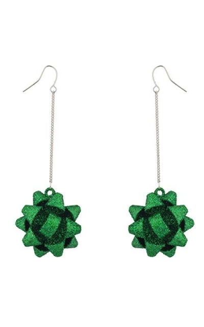 Lux Accessories Green Glitter Christmas Bow Dangle Earrings