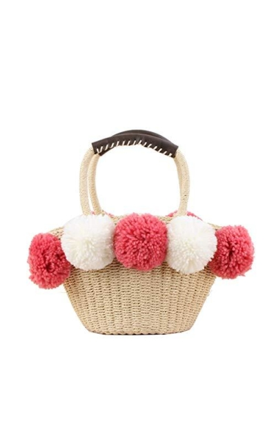 Straw Woven Tote with Poms