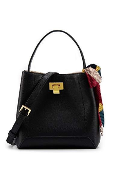LA FESTIN Leather Bucket Handbags with Scarf