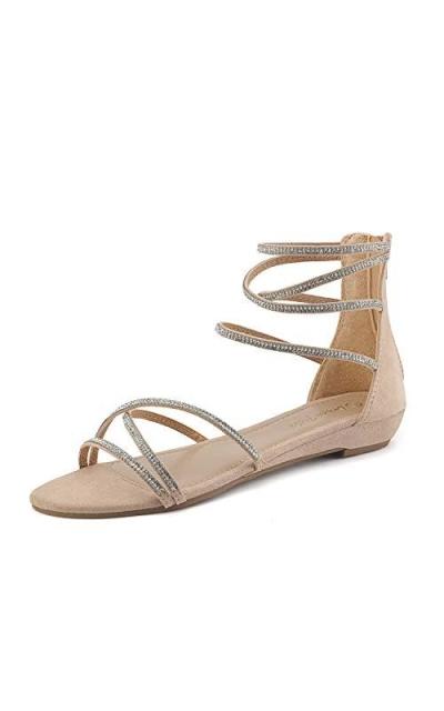 DREAM PAIRS Weitz Nude Rhinestones Sandals