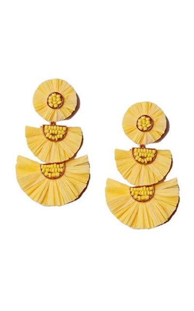 L&N Rainbery Raffia Palm Earrings