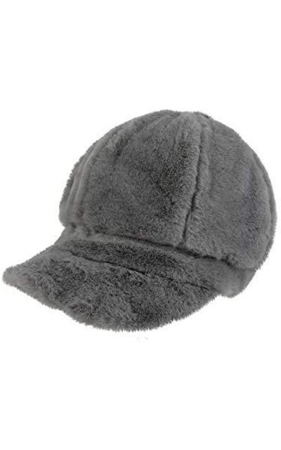 Luxury Divas Gray Faux Fur Cabbie Newsboy Hat