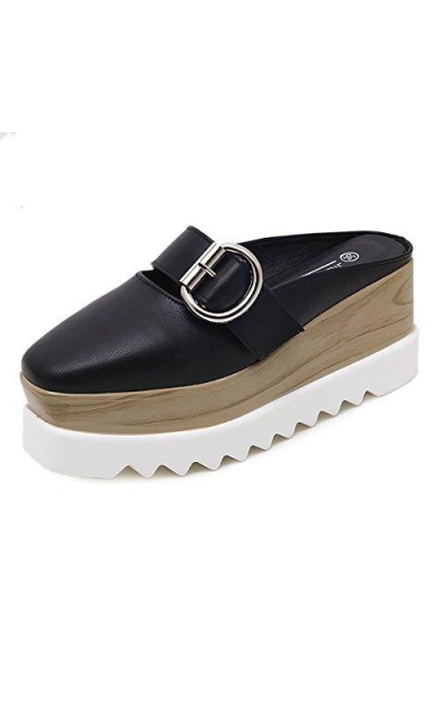 PP FASHION Square-Toe Wedge Loafers