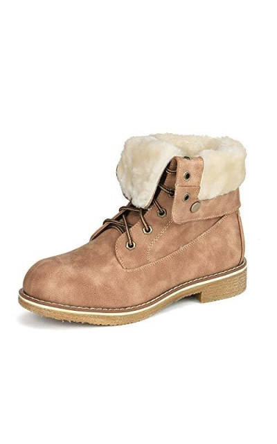 DREAM PAIRS Montreal Camel Faux Fur Ankle Bootie