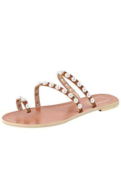 Jamron Pearls Toe Ring Sandals