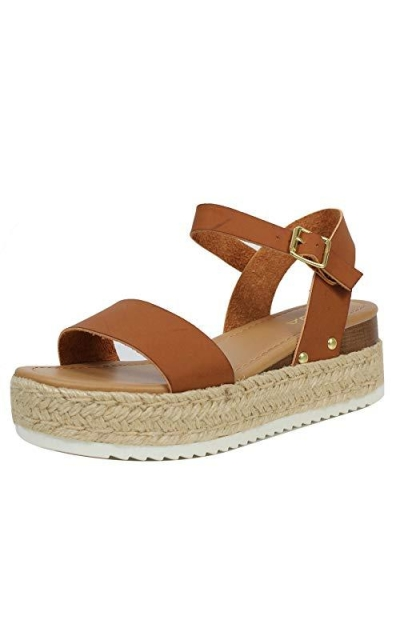SODA Open Toe Ankle Strap Espadrille Sandal