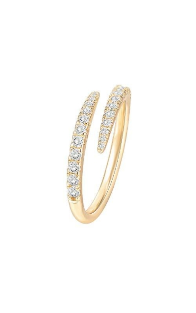 PAVOI 14K Gold Plated Sterling Silver Cubic Zirconia Open Twist Eternity Band
