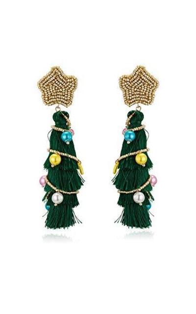 Christmas Tree Tassel Earrings
