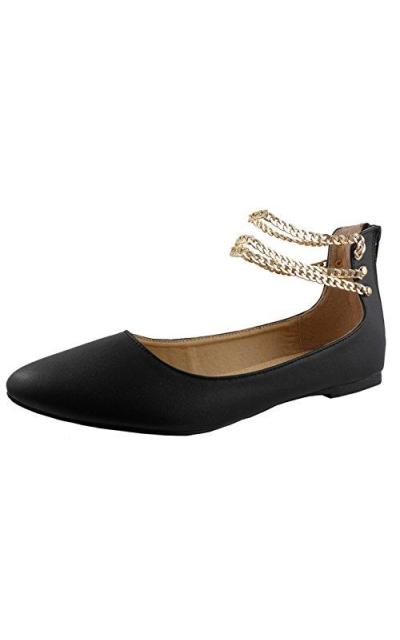 Cambridge Chain Ankle Strap Ballet Flat