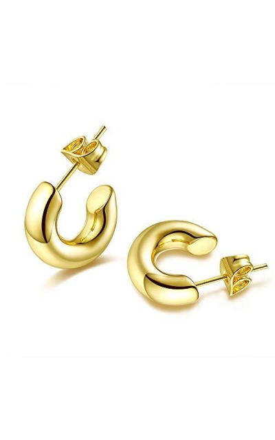 Small Chunky Thick Gold Hoop Earrings