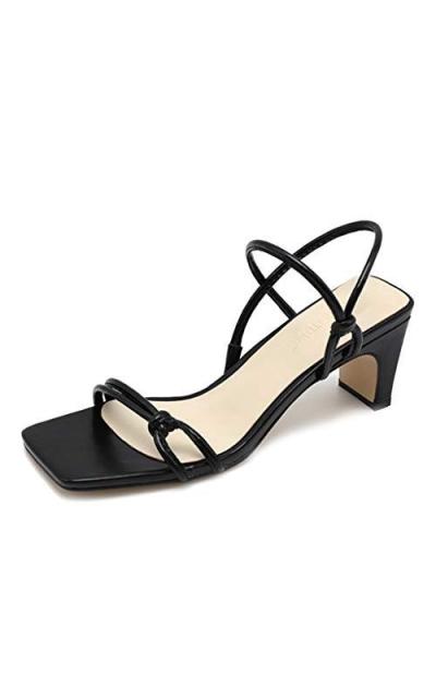 CYBLING Strappy Low Block Heel Slide Sandals