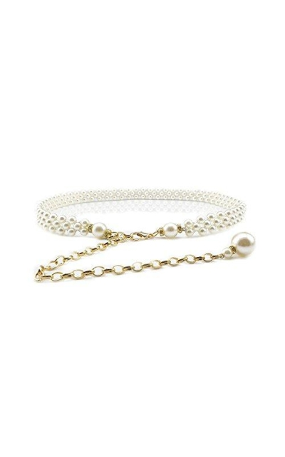 Ya Jin Pearl Metal Chain Waist Belt