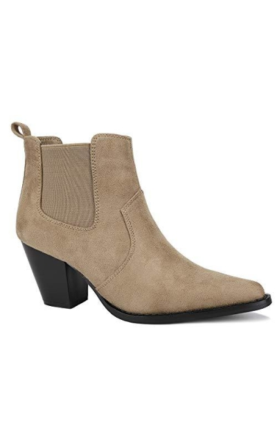 MaxMuxun Taupe Ankle Booties